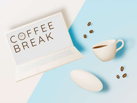 Coffee break background with coffee cup and pastel color scheme