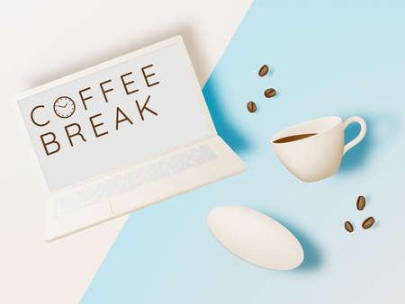 Coffee break background with coffee cup and pastel color scheme Foto de archivo - 154297114