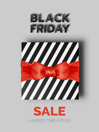 Present box in paper art style and black friday scheme vector illustration