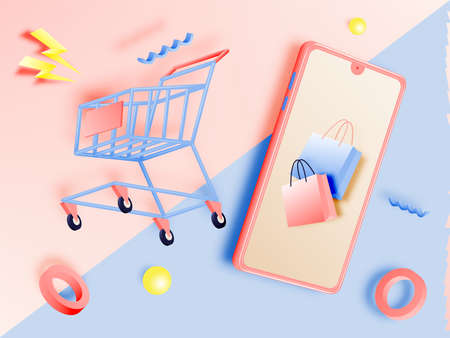Shopping cart for sale banner in paper art style and pastel scheme vector illustration Foto de archivo - 156229453