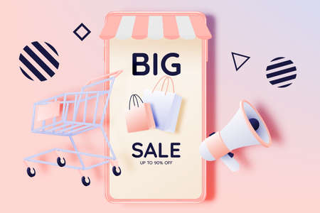 Shopping cart for sale banner in paper art style and pastel scheme vector illustration