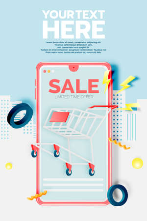 Shopping cart for sale banner in paper art style and pastel scheme vector illustration Foto de archivo - 156229459
