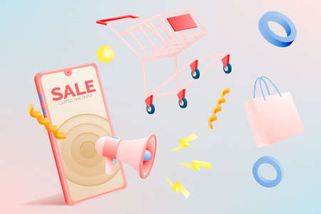 Shopping cart for sale banner in paper art style and pastel scheme vector illustration Foto de archivo - 156229466