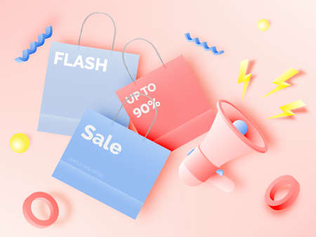 Shopping bag for sale banner in paper art style and pastel scheme vector illustration Foto de archivo - 156229467