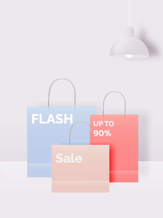 Shopping bag for sale banner in paper art style and pastel scheme vector illustration Foto de archivo - 156229469