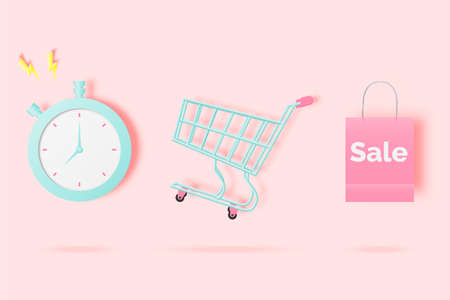 Shopping cart for sale banner in paper art style and pastel scheme vector illustration Foto de archivo - 157280282