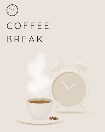 Coffee break background with coffee cup and alarm clock and pastel color scheme Vectores