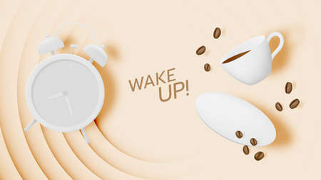 Coffee break background with coffee cup and alarm clock and pastel color scheme Foto de archivo - 157230547