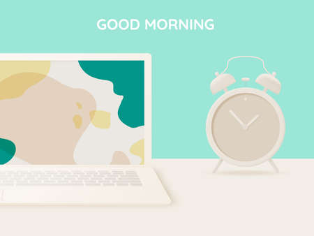 Laptop on the desk in the house for work from home with pastel and paper art vector illustration Vectores
