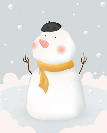 Snowman and Winter landscape with paper art style and pastel color scheme vector illustration Vectores