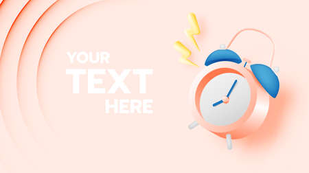 Alarm clock for sale banner or promotion in pastel color scheme background vector illustration Illusztráció