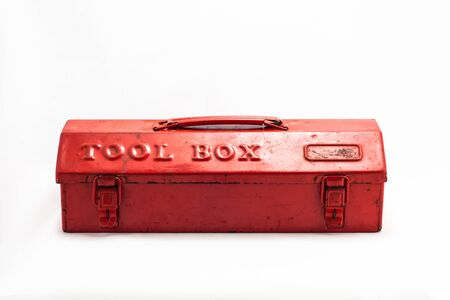 tool box: Red tool box on white background Stock Photo