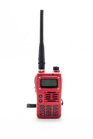 walkie talkie: Red Walkie talkie on white background