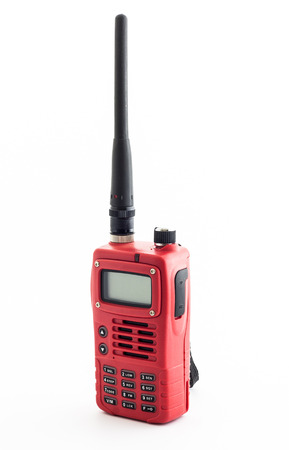 walkie: Red walkie talkie on white background