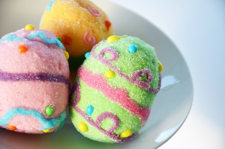 Close up picture of marsh mallow Easter eggs Stock Photo