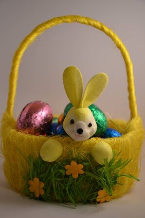 Chocolate Easter eggs in a yellow rabbit basket