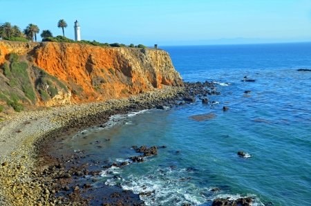The light house from far distance ;Pelican Cove, Rancho Palos Verdes Stock Photo - 16755934