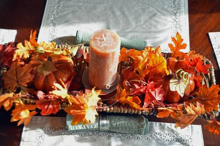 Table centrepiece autumn decoration photo