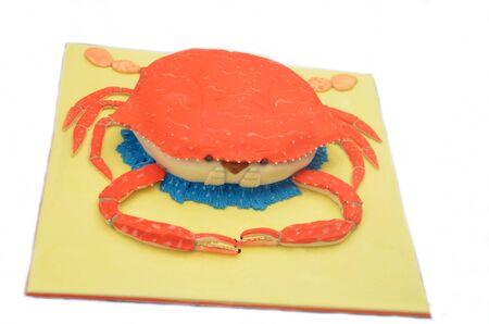 decoracion de pasteles: Pastel de la decoraci�n de un cangrejo naranja Foto de archivo