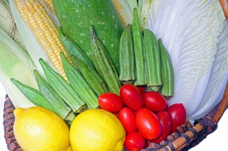 Healthy food; mixed vegetables in a basket  Stock Photo