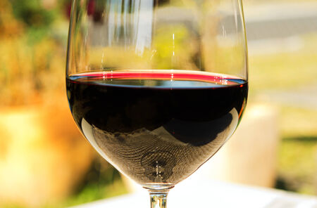 The rim of a glass of wine