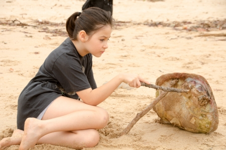A young girl is looking at a turtle s shell on the beach Stock Photo