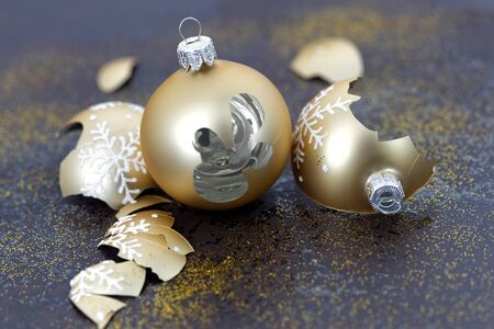 christmas ornaments: Broken Christmas balls Stock Photo