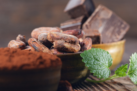 Piezas oscuras de chocolate, polvo de cacao y cacao en grano en una mesa de madera Foto de archivo - 54882454
