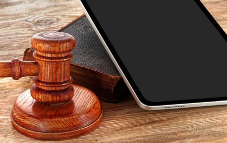 Law gavel or judge mallet on a wooden desk Foto de archivo
