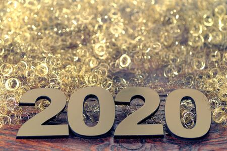 Happy New Year 2020. Symbol from number 2020 on wooden background Foto de archivo - 130857107