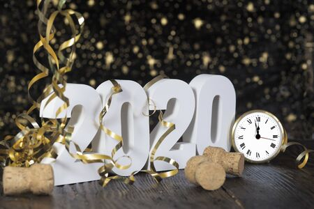 Happy New Year 2020. Symbol from number 2020 on wooden background Foto de archivo - 132542465