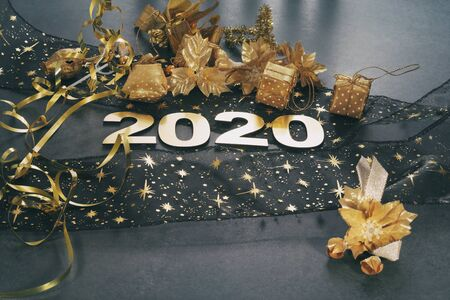 Happy New Year 2020. Symbol from number 2020 on stone background Фото со стока