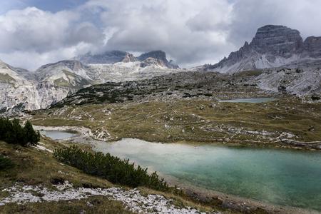 Lake close to the three peaks in Dolomiti mountains Banco de Imagens