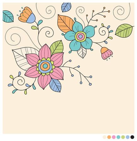 pastel flowers: Cute pastel flowers design elements vector illustration Illustration