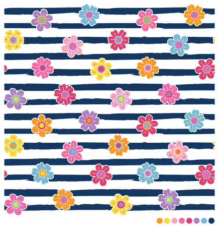 Seamless vector pattern with colorful spring flowers on navy blue and white stripes background Vettoriali
