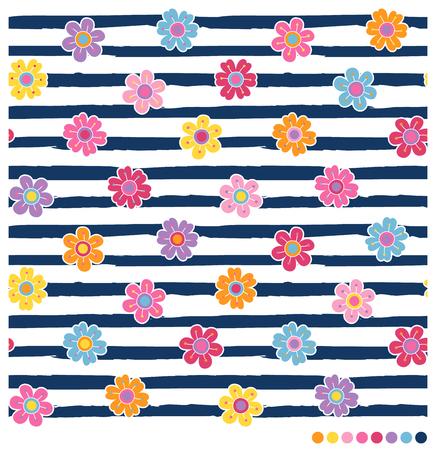 Patrón de vector transparente con coloridas flores de primavera sobre fondo azul marino y rayas blancas