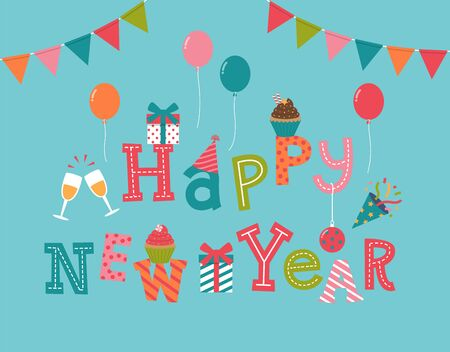 new year celebration: Happy new year lettering with party and celebration icons for invitation card design. Illustration