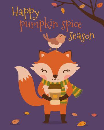 Cute fox and bird with text  Happy pumpkin spice season Ilustração