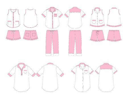 sleepwear: Set of womens homewear and sleepwear vector illustration on white background
