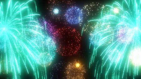 midsummer: fireworks Stock Photo