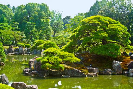 Japanese garden in Nijo castle in Kyoto, Japan