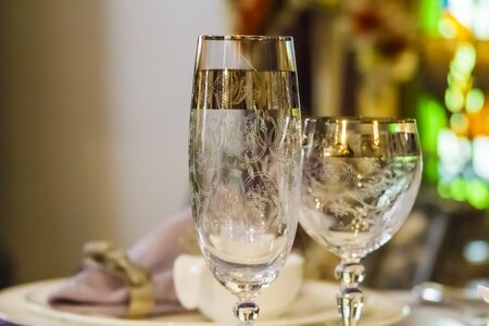 Table glass Stock Photo