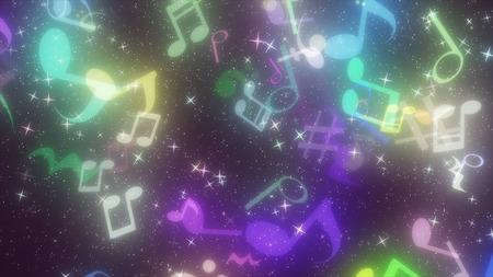 notes de musique en forme de particules graphiques