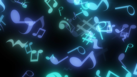 graphic particles shaped musical notes