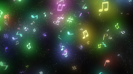 graphic particles shaped musical notes Stock Photo