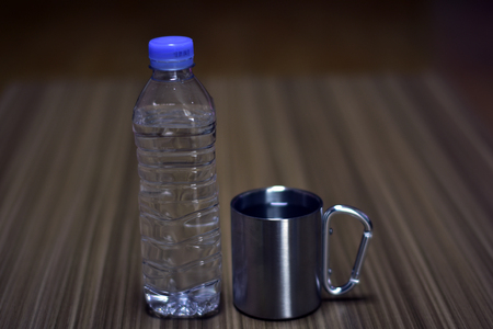 Bottled water and water cup