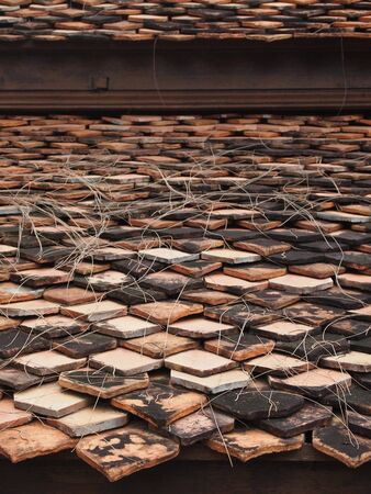 roof of old temple in thailand photo