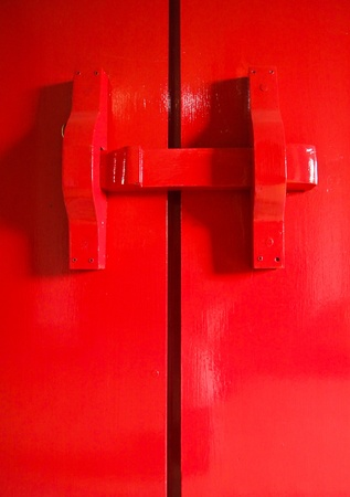 red latch gate in the temple photo