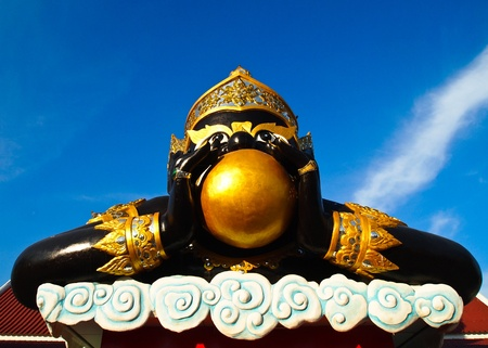 Rahu statue at the temple in Thailand photo