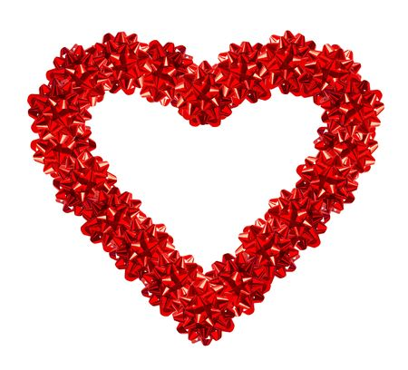 The Gift Of Love. Heart Made Of Red Gift Bows